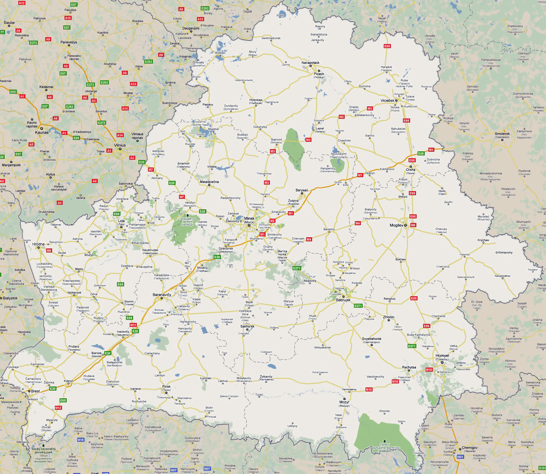 Large road map of Belarus with all cities Belarus Europe