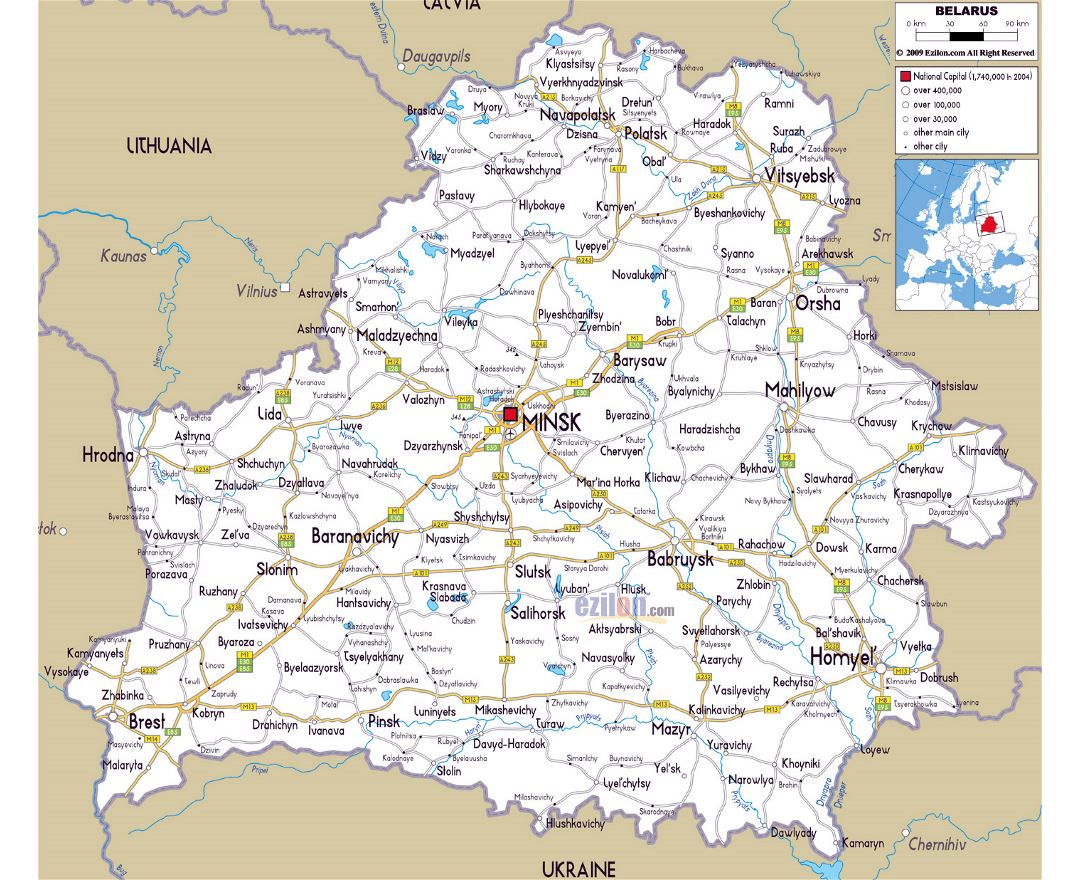 Large road map of Belarus with cities and airports