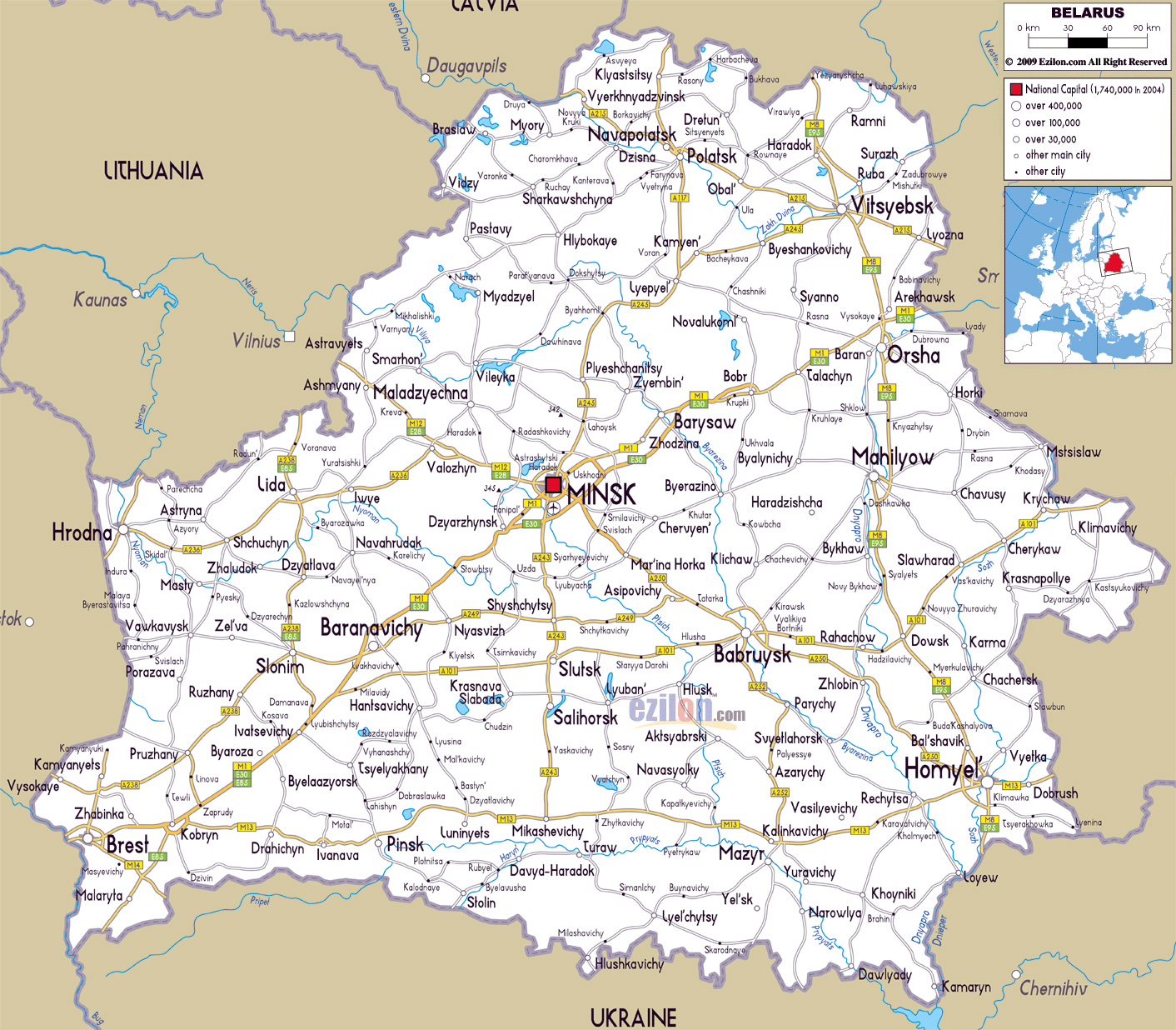 Large road map of belarus with cities and airports belarus large road map of belarus with cities and airports gumiabroncs Images