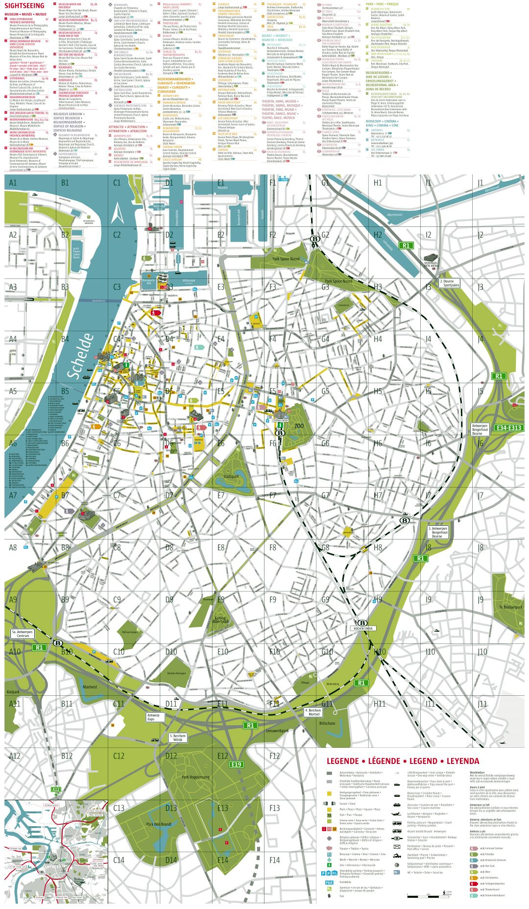 Large scale detailed tourist map of Antwerpen city