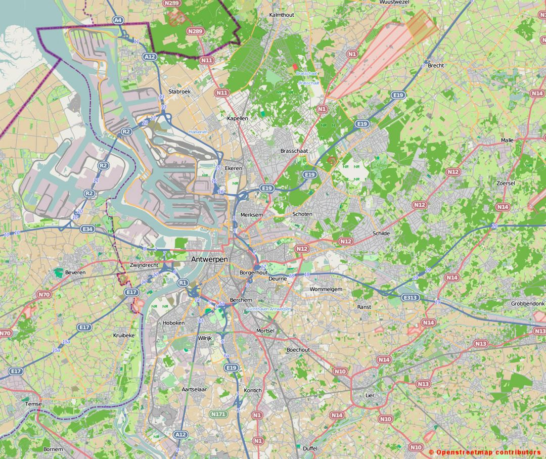 Road map of Antwerp and the surrounding area
