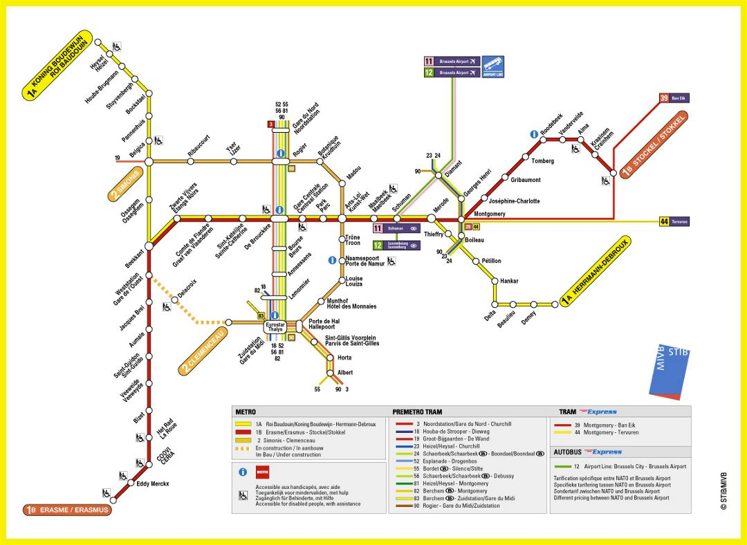 Detailed metro map of Brussels city