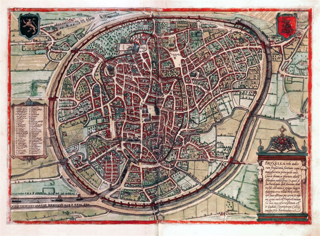 Large detailed medieval map of Brussels city
