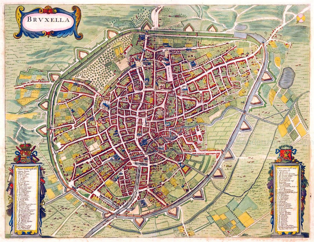 Large detailed old map of Brussels city - 1657