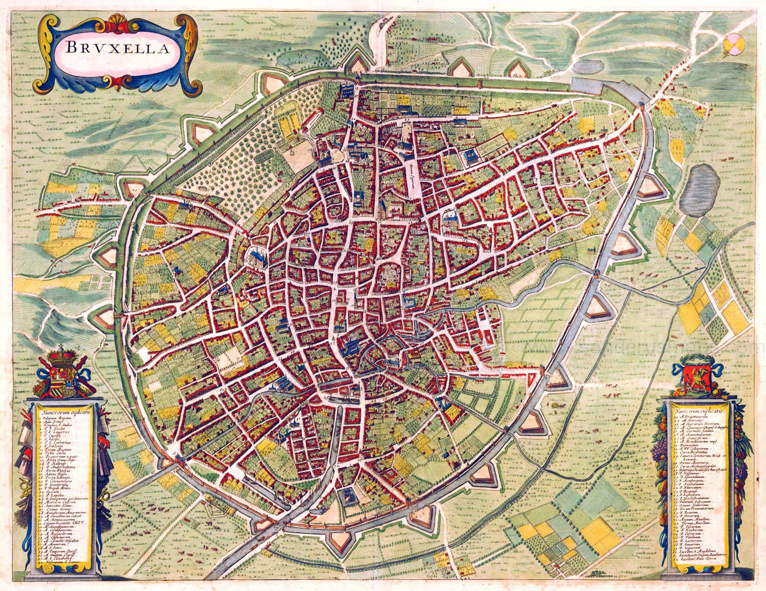 large detailed old map of brussels city 1657