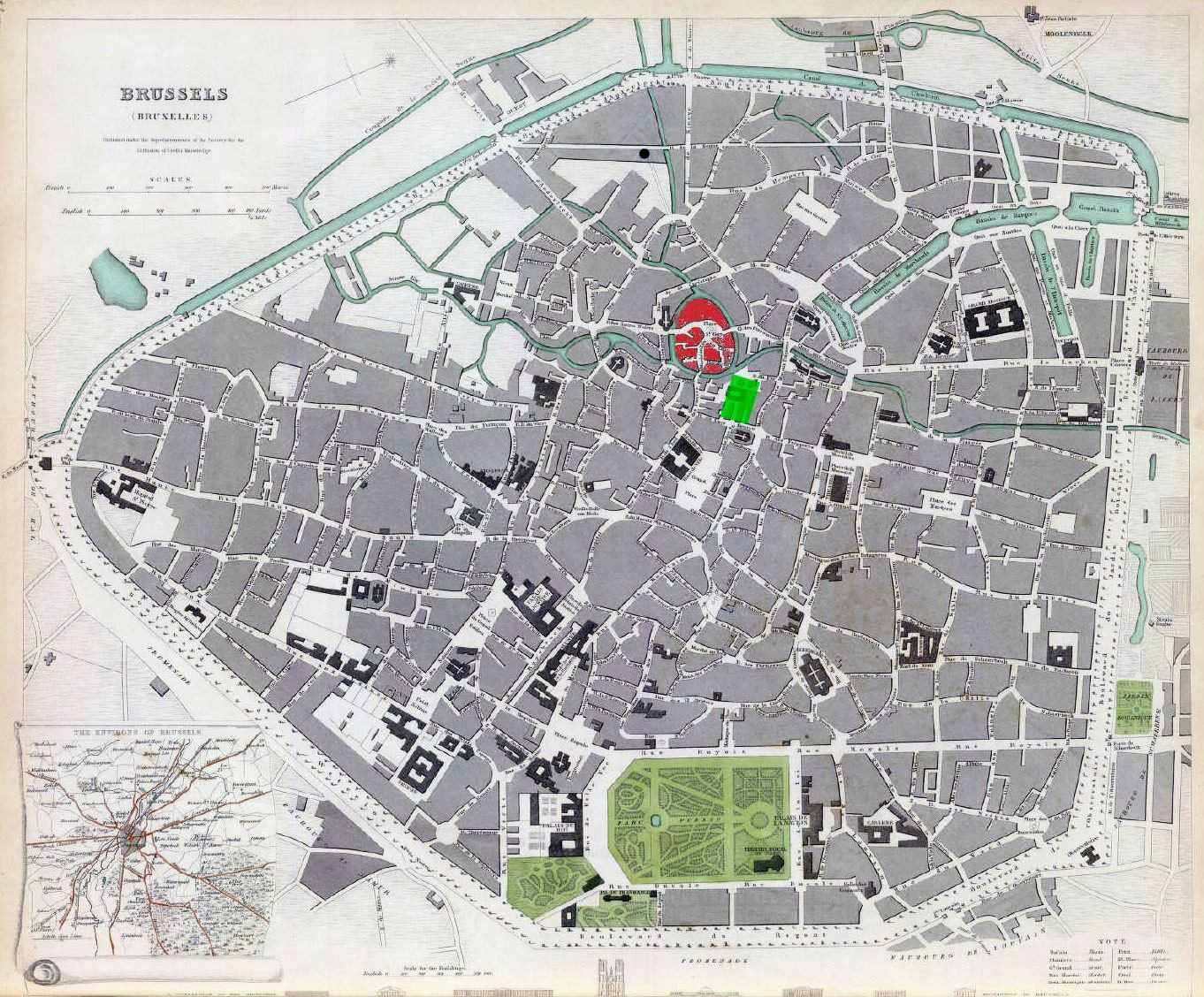 large detailed old map of brussels city 1837