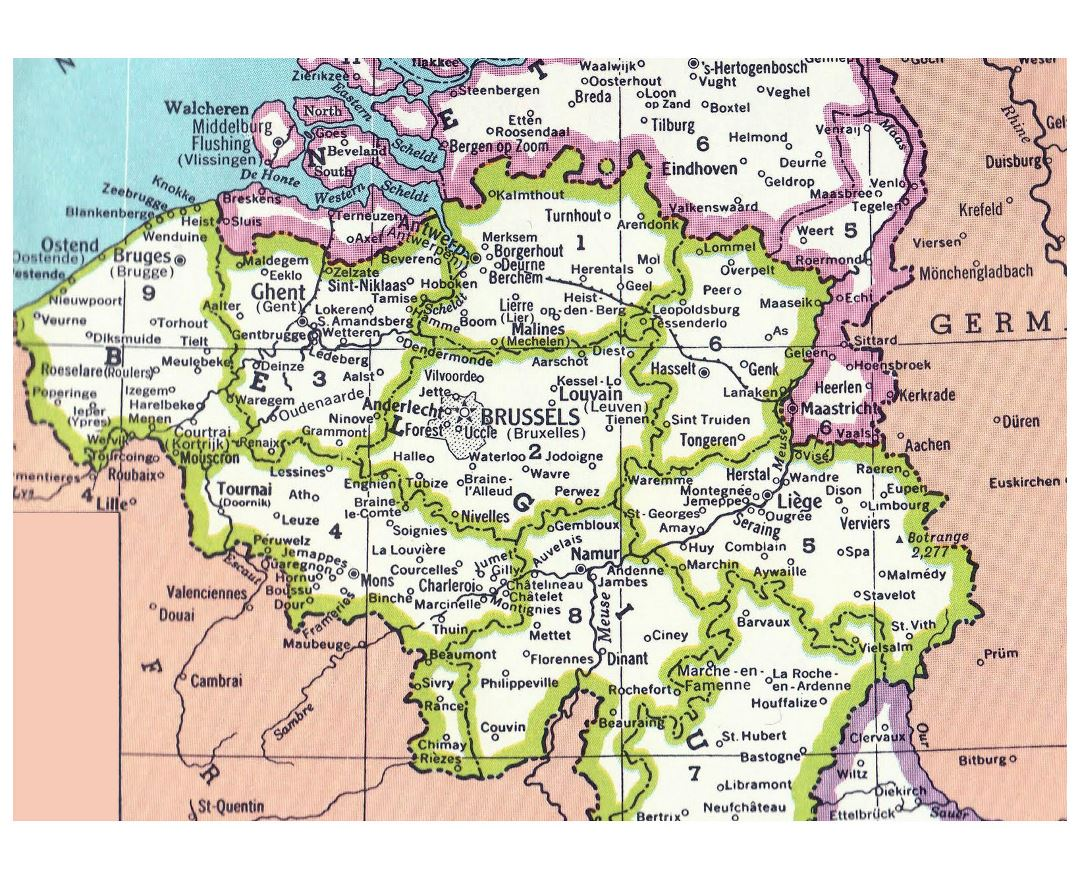 Detailed administrative map of Belgium