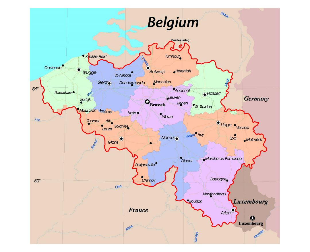 detailed administrative map of belgium with roads and major cities