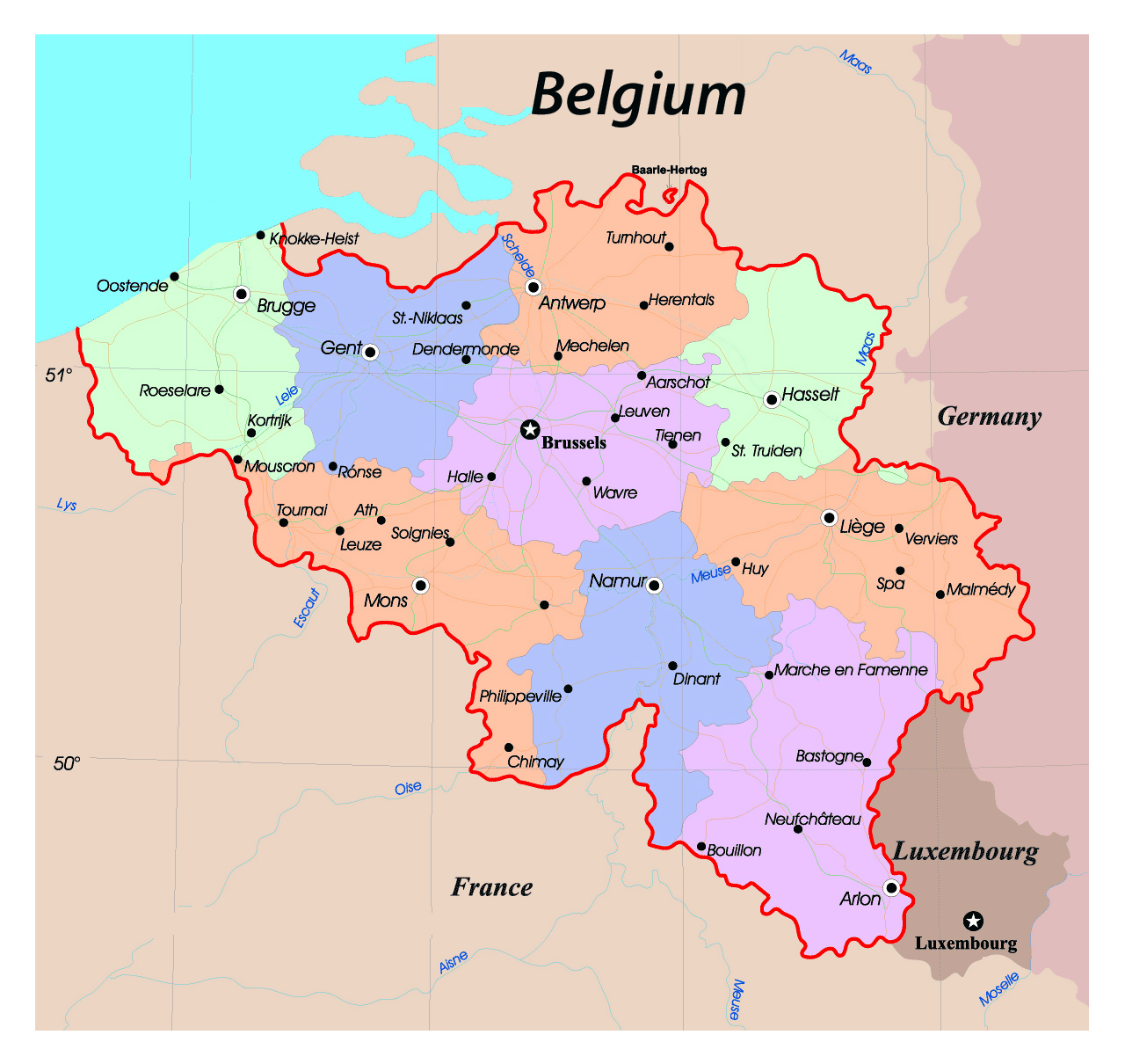 Detailed administrative map of Belgium with roads and major cities – Map of Belgium with Cities