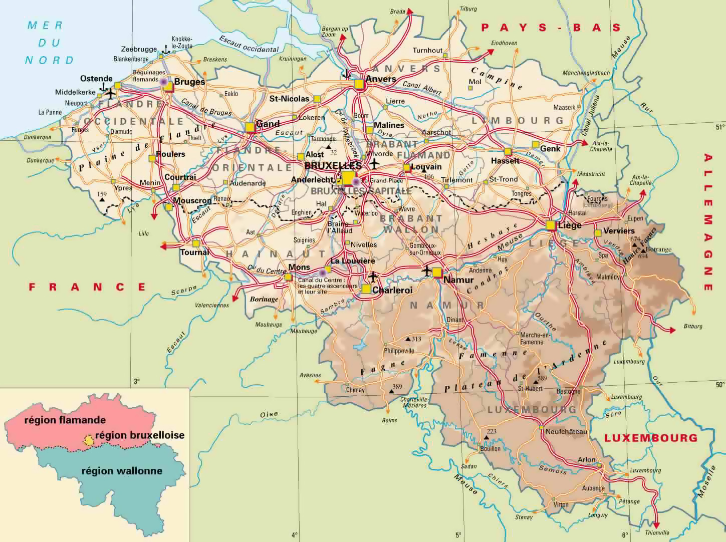 Detailed elevation map of Belgium with highways cities and – Map of Belgium with Cities
