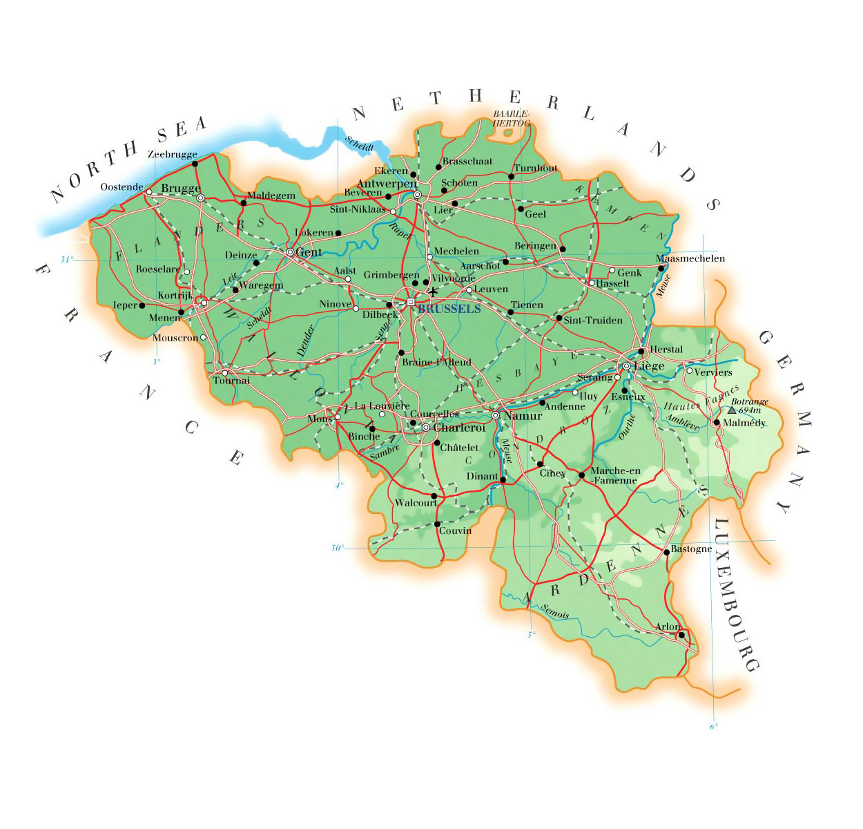 Detailed elevation map of Belgium with roads, cities and airports ...