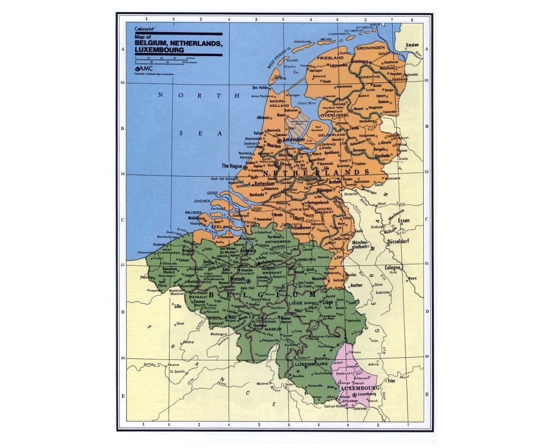 Detailed political and administrative map of Belgium, Netherlands and Luxembourg