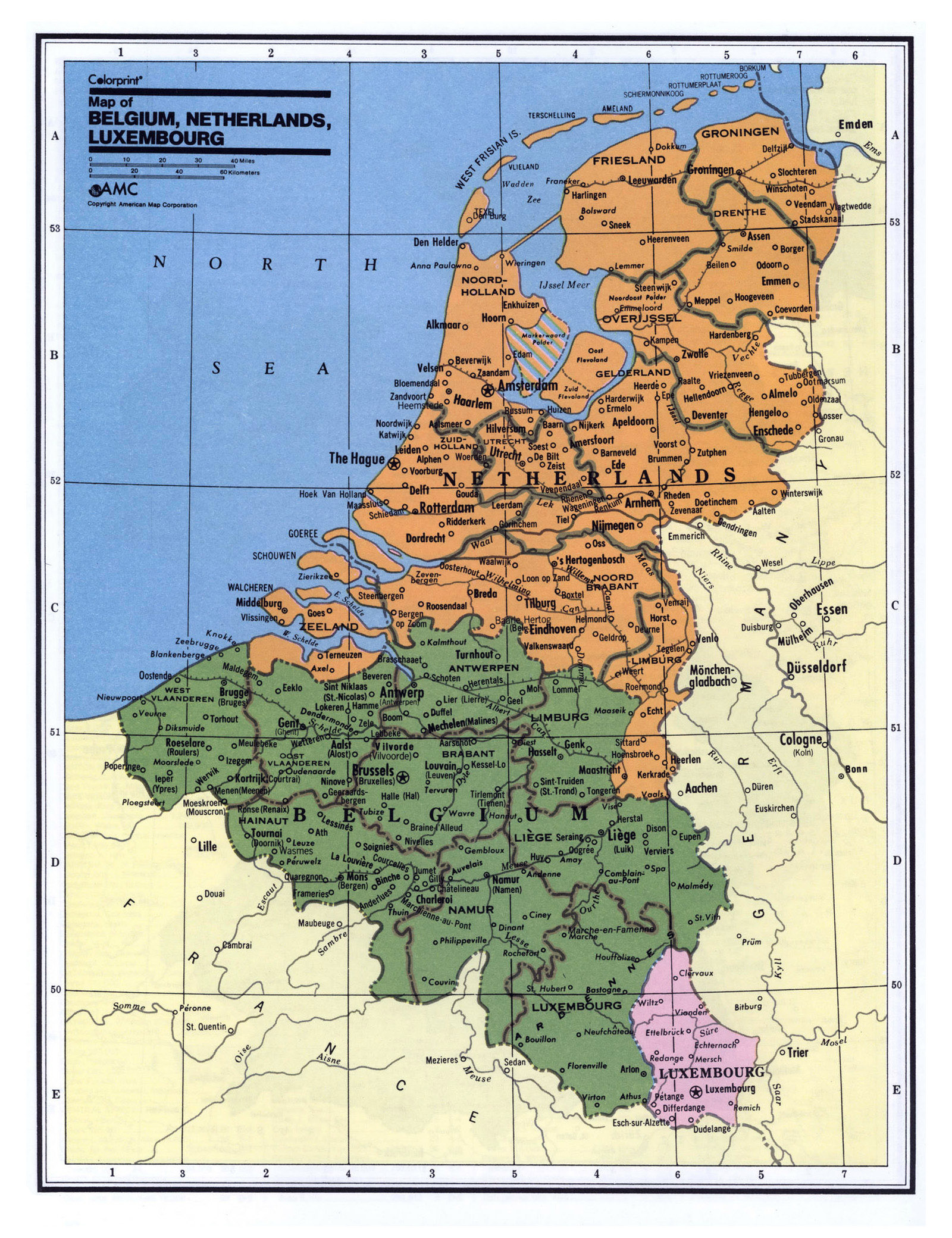 Detailed political and administrative map of Belgium, Netherlands ...