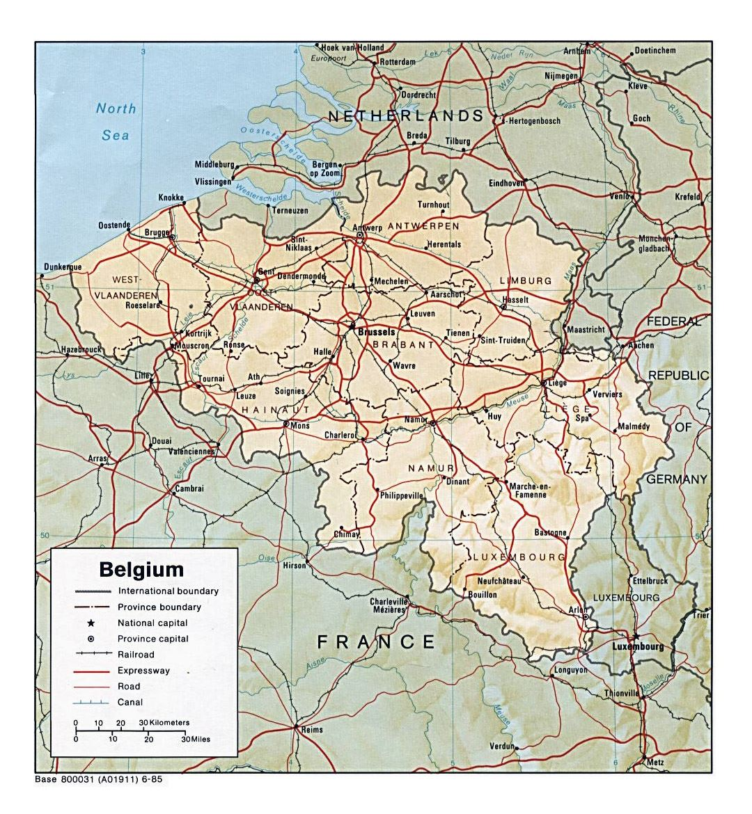 Detailed political and administrative map of Belgium with relief, roads and major cities - 1985