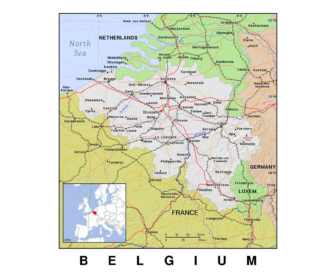Detailed political map of Belgium with relief