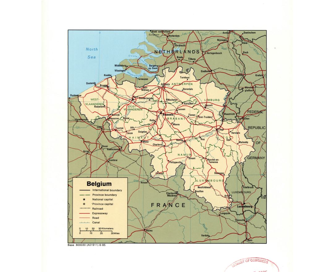 Large detail political and administrative map of Belgium with marks of large cities, roads, railroads and canals - 1985