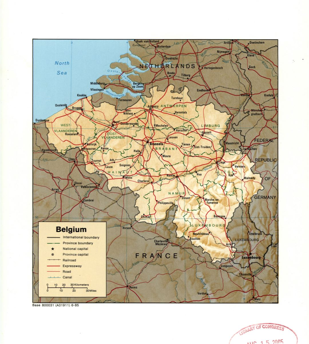 Large detail political and administrative map of Belgium with relief, marks of large cities, roads, railroads and canals - 1985