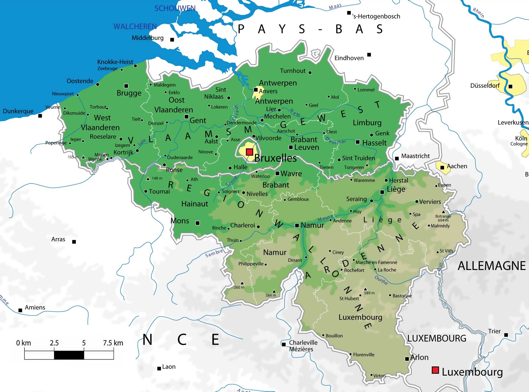 Large detailed elevation map of Belgium with administrative – Belgium Europe Map
