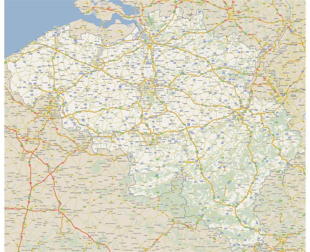 Large detailed road map of Belgium with all cities