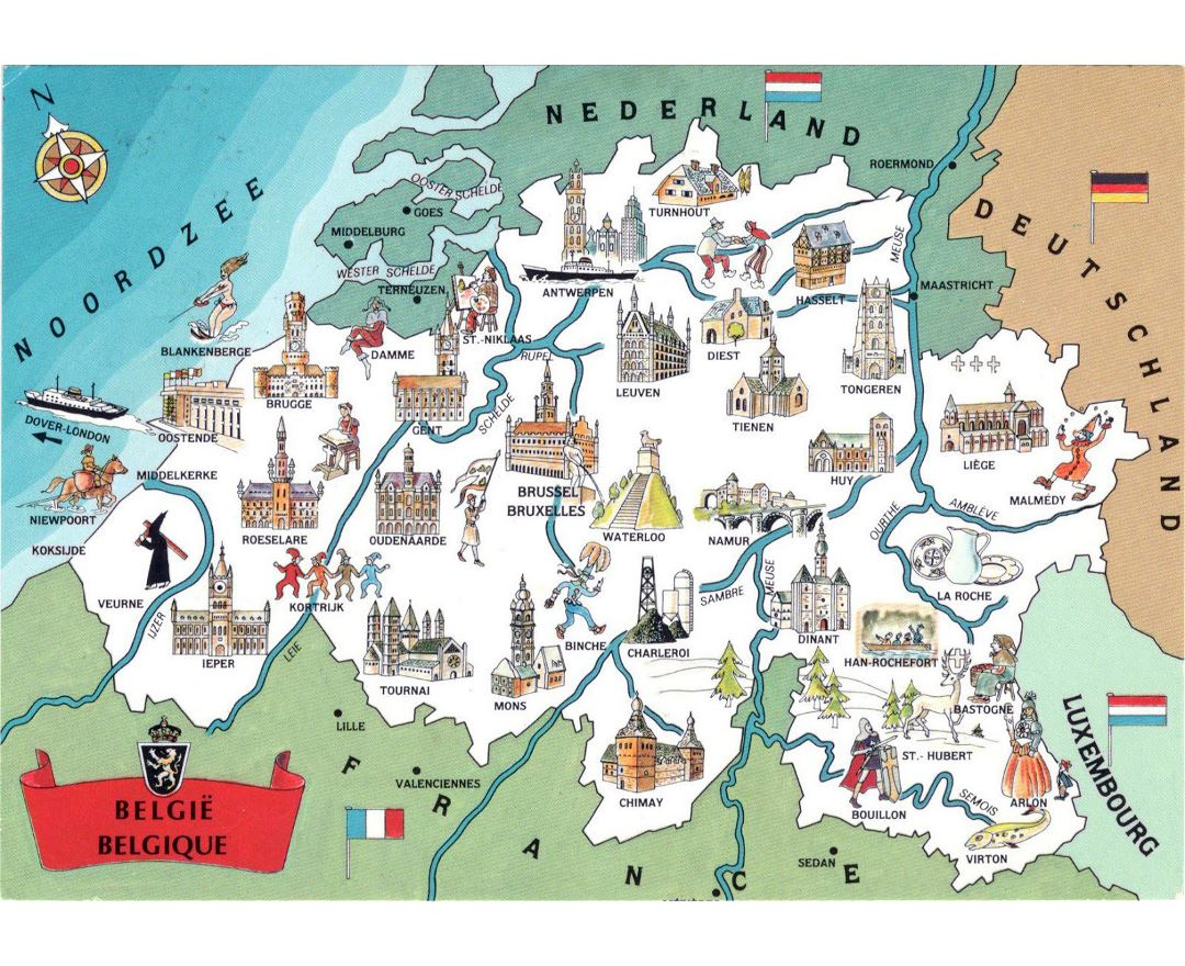 Large detailed tourist illustrated map of Belgium
