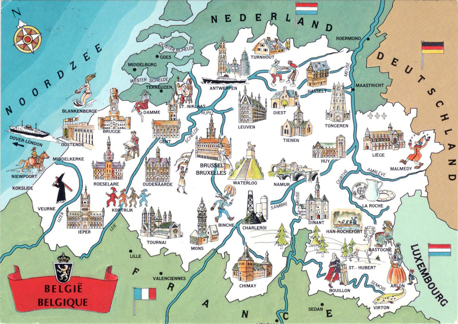 Large detailed tourist illustrated map of Belgium – Belgium in Europe Map