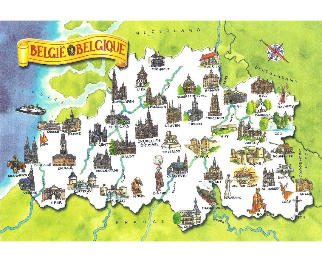 Large detailed travel illustrated map of Belgium