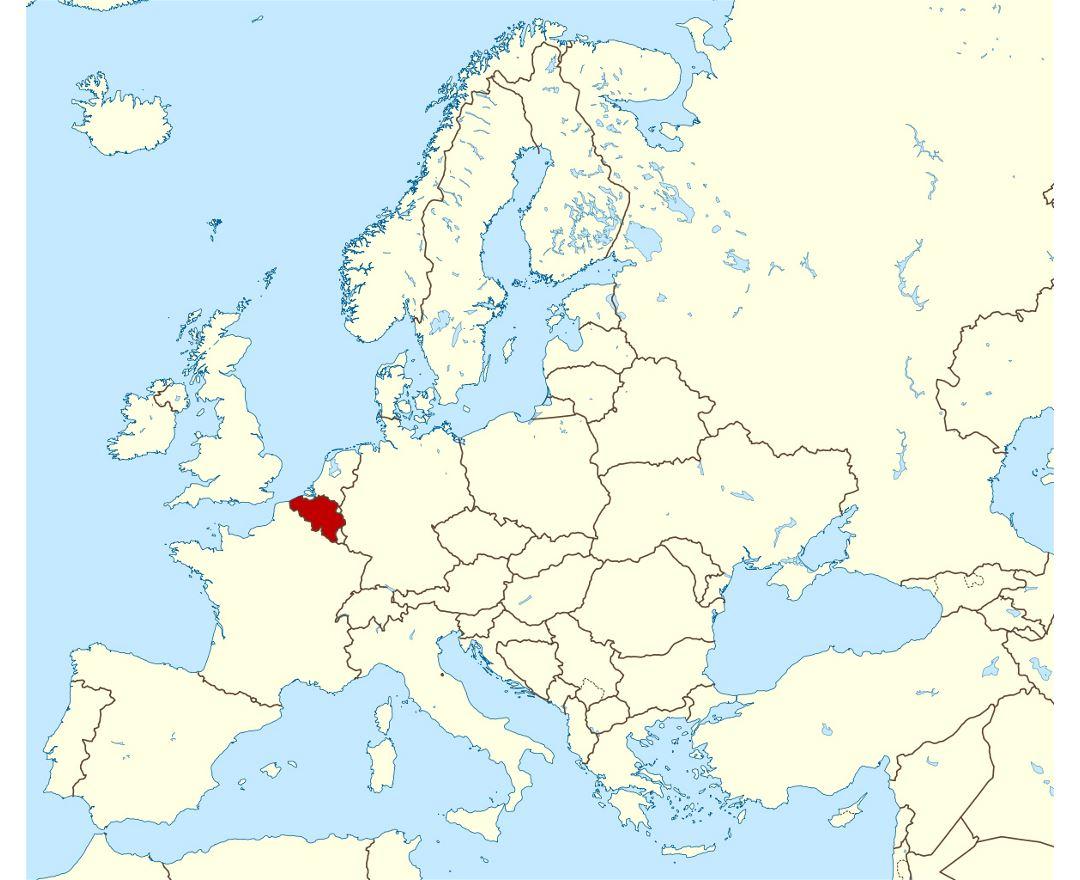 large location map of belgium