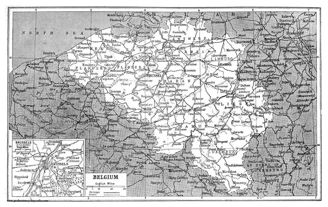 Large old map of Belgium - 1922