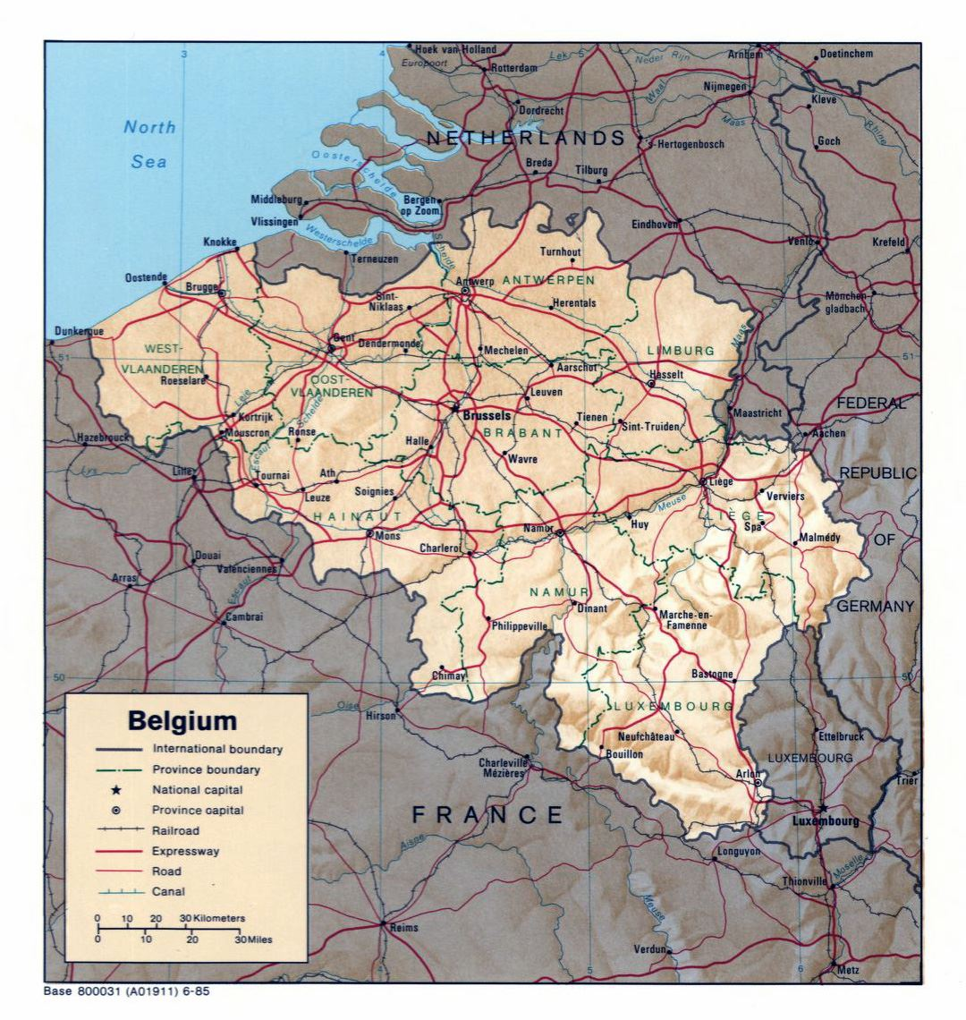 Large political and administrative map of Belgium with relief, roads and major cities - 1985