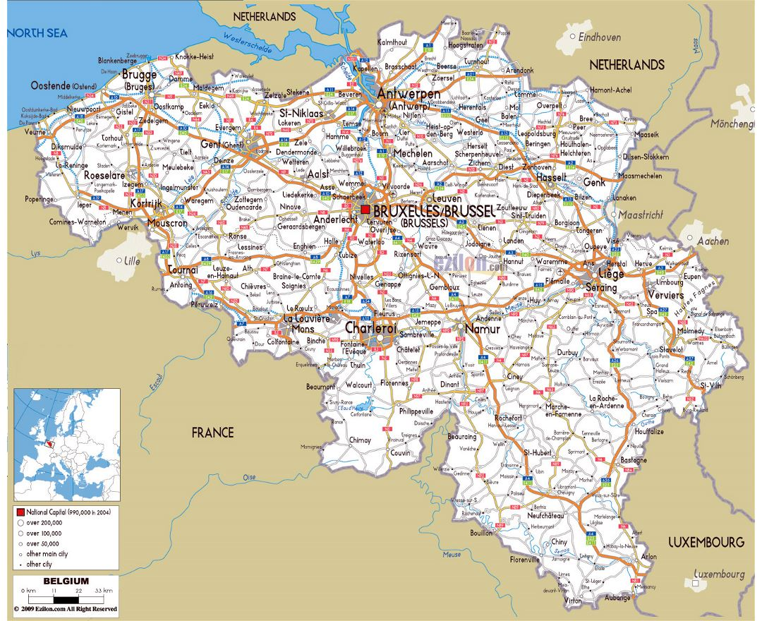 Large road map of Belgium with cities and airports