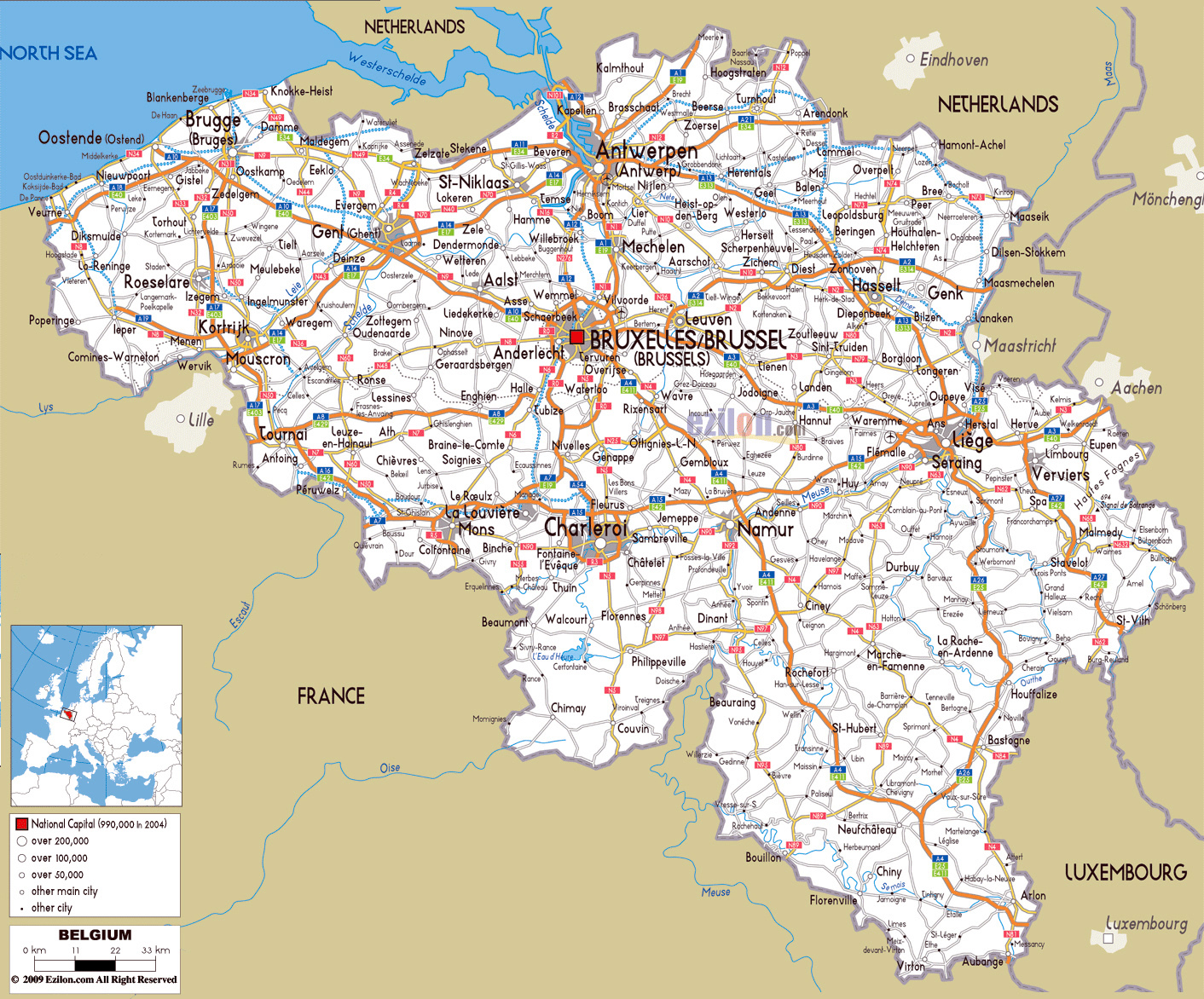 airports in belgium map Large Road Map Of Belgium With Cities And Airports Belgium Europe Mapsland Maps Of The World airports in belgium map