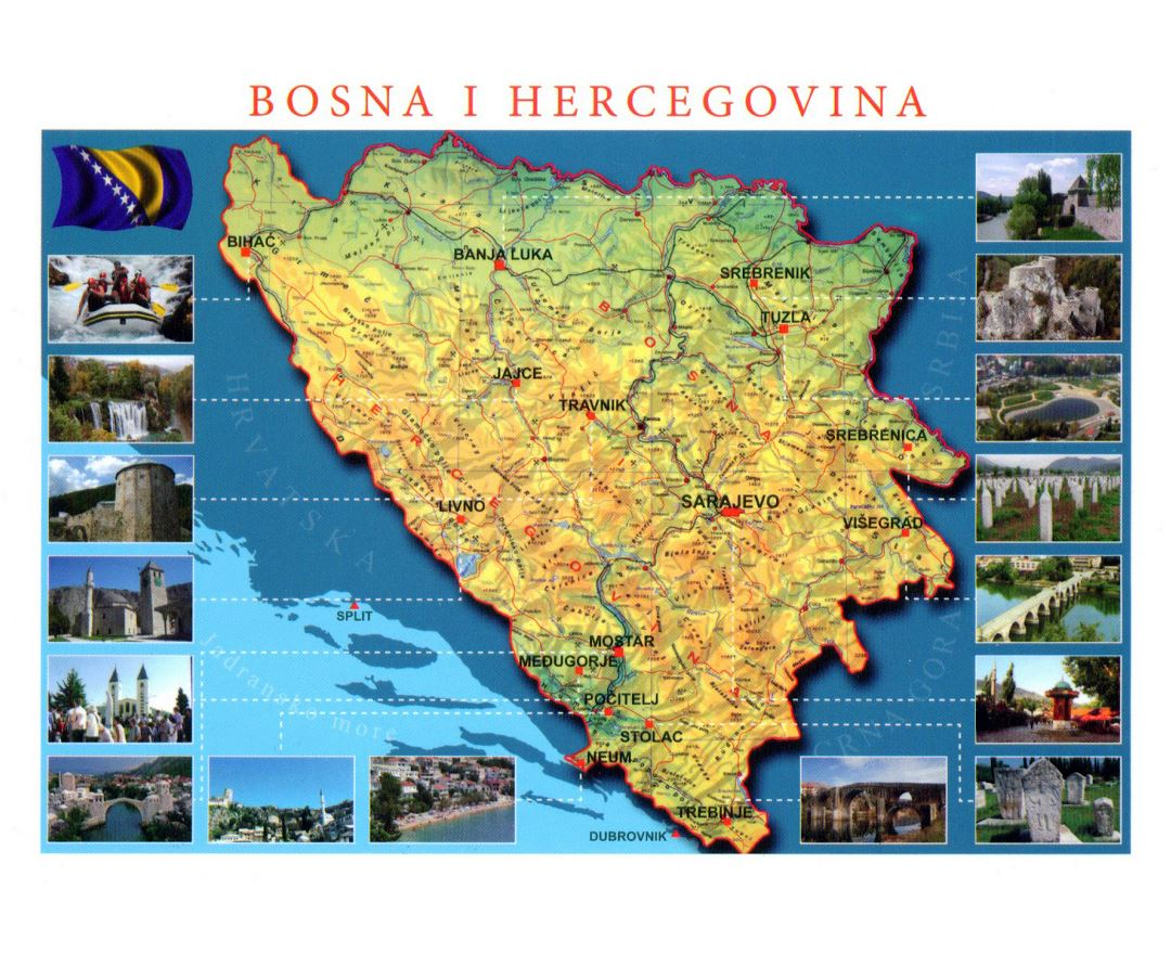 Detailed tourist map of Bosnia and Herzegovina