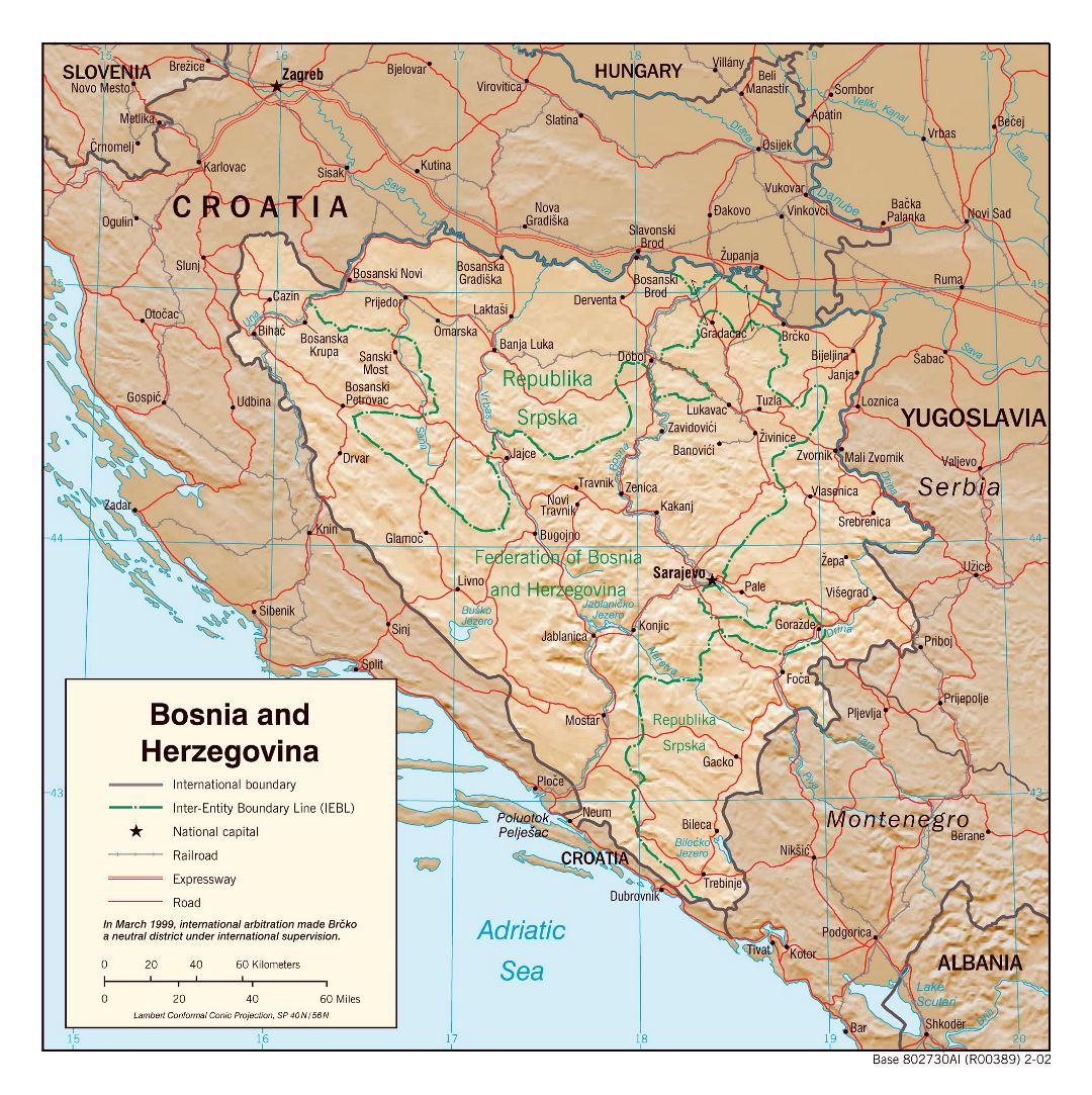 Large detailed political and administrative map of Bosnia and Herzegovina with relief, roads and cities - 2002
