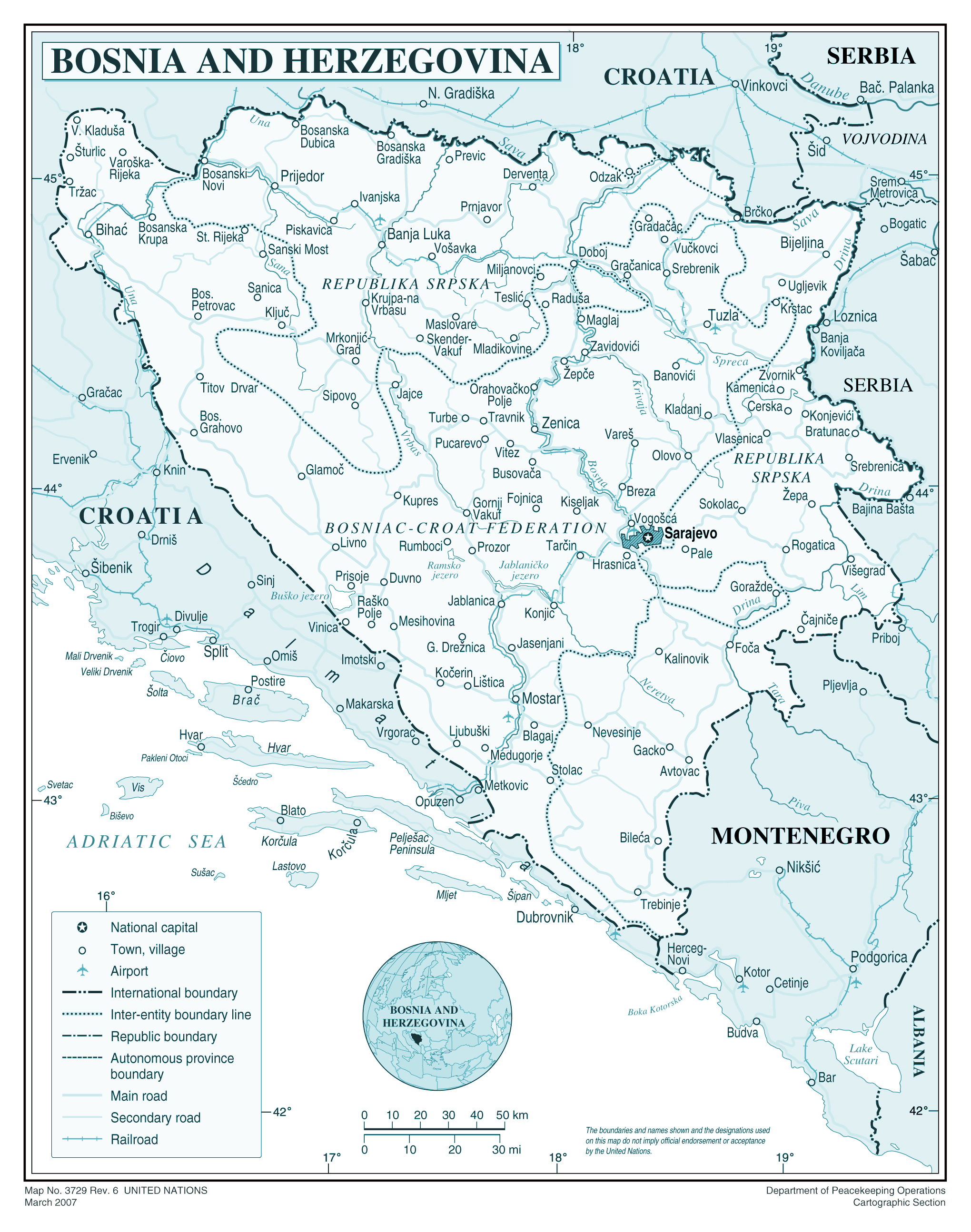 Large detailed political and administrative map of Bosnia and ...