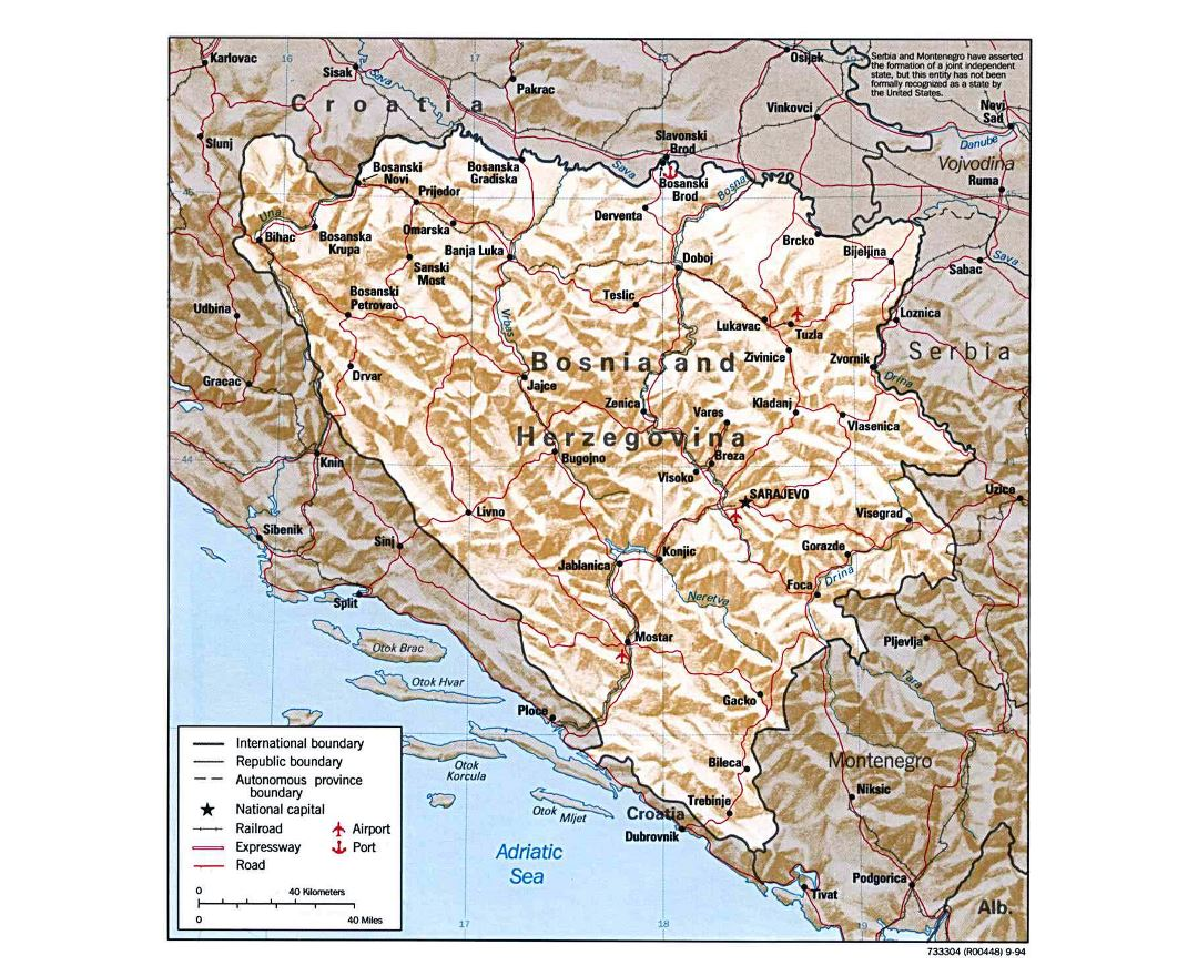 Large detailed political map of Bosnia and Herzegovina with relief, roads, major cities and airports - 1994