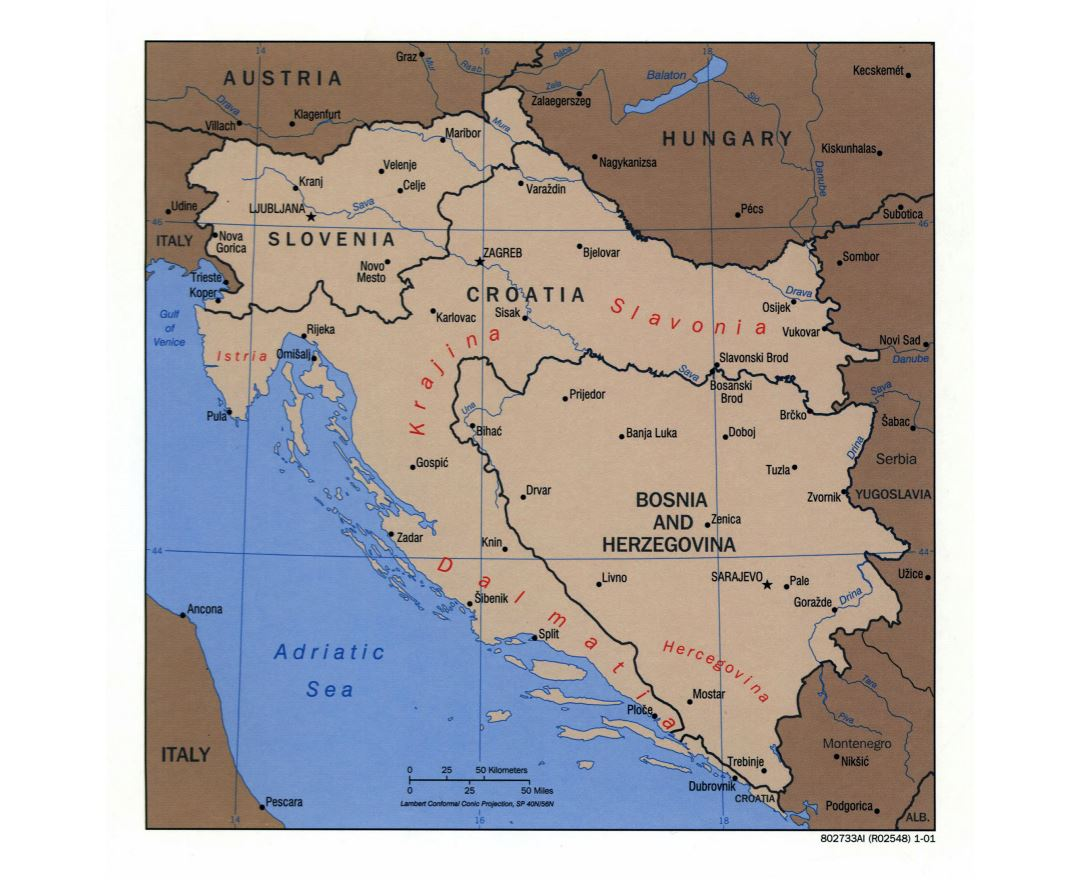 Large detailed political map of Slovenia, Croatia and Bosnia and Herzegovina with major cities