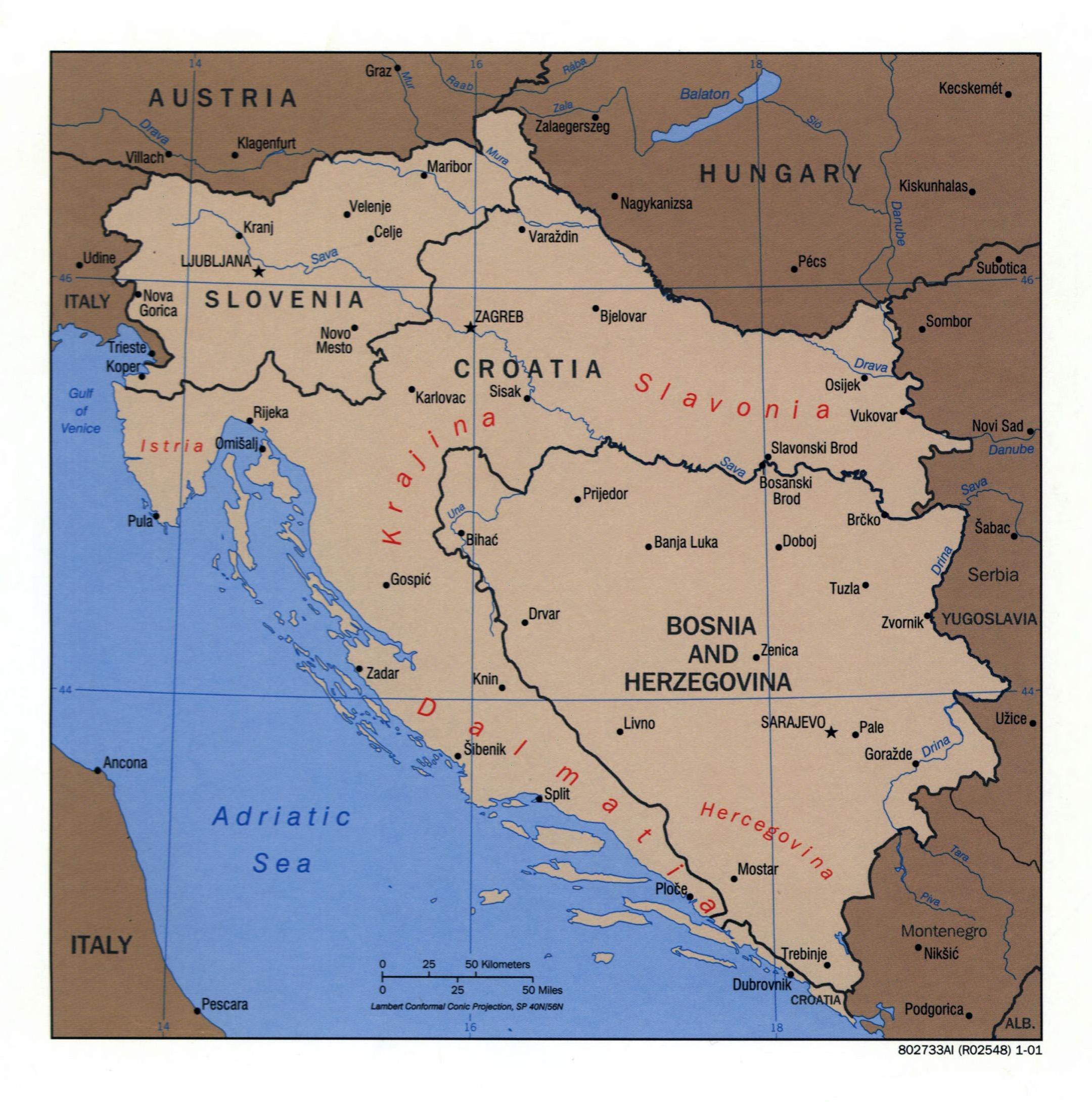 Large detailed political map of Slovenia, Croatia and Bosnia ...