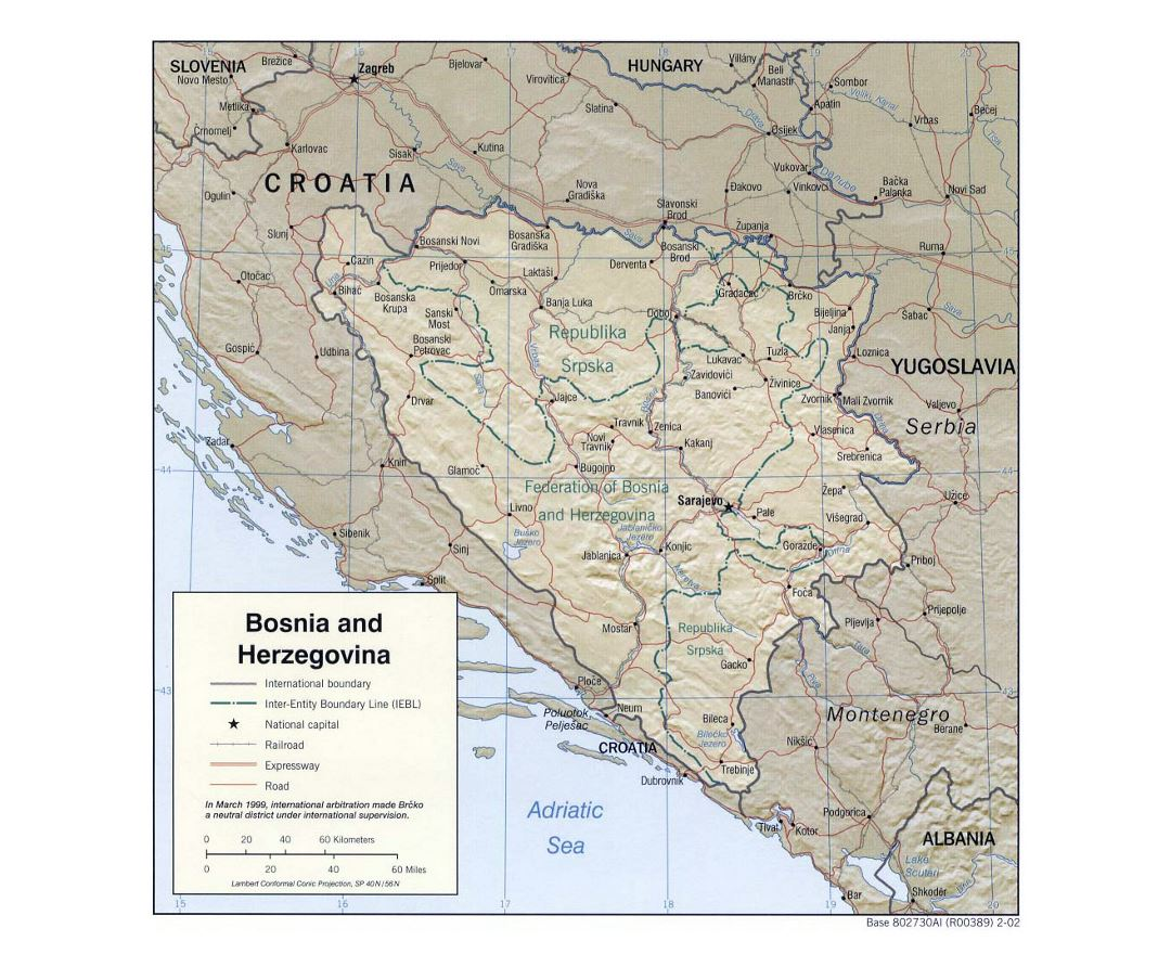 Large political and administrative map of Bosnia and Herzegovina with relief, roads and major cities - 2002