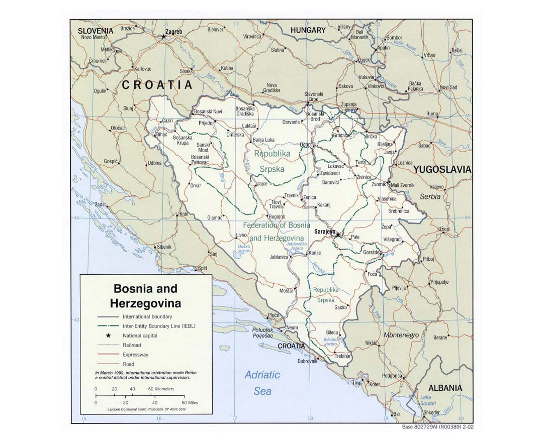 Large political and administrative map of Bosnia and Herzegovina with roads and major cities - 2002