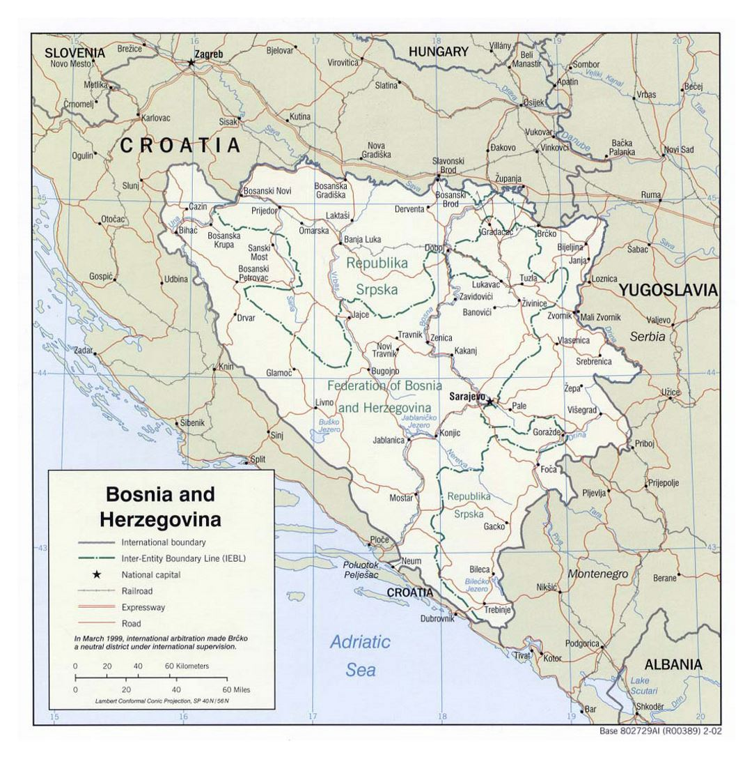 Large political and administrative map of Bosnia and Herzegovina