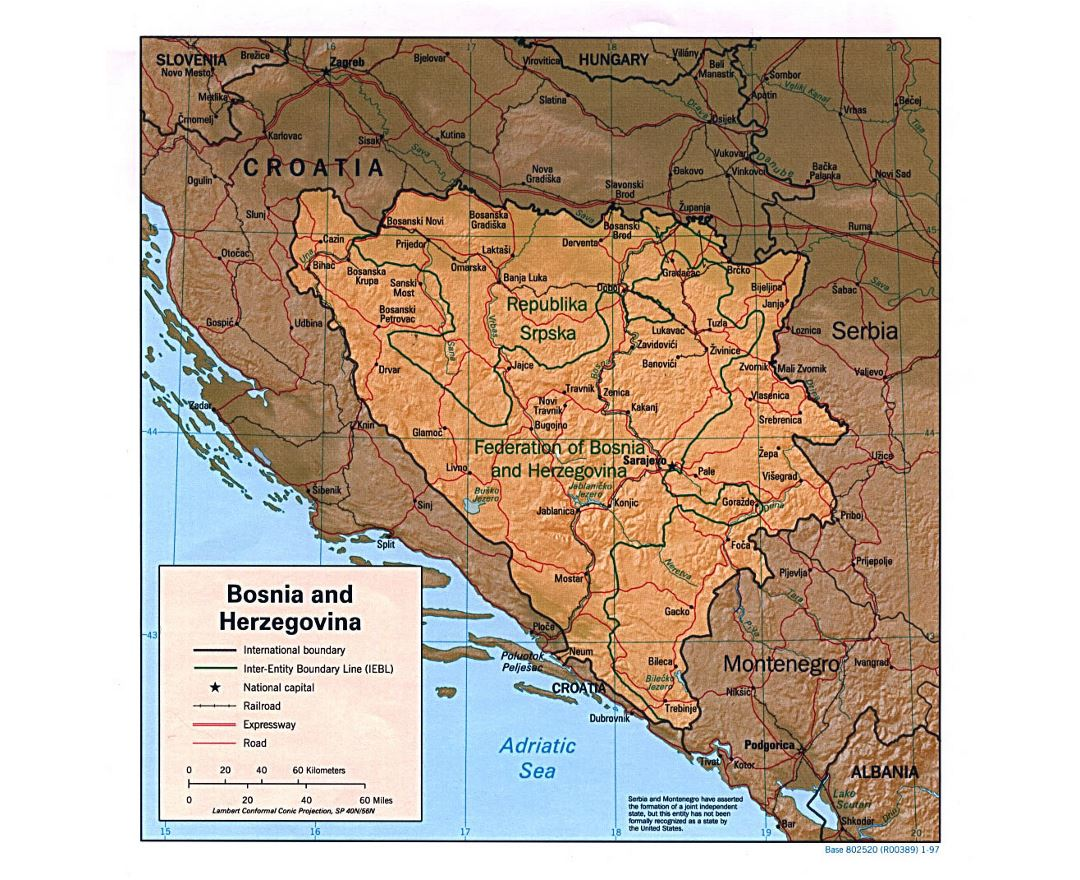 Large political map of Bosnia and Herzegovina with relief - 1997