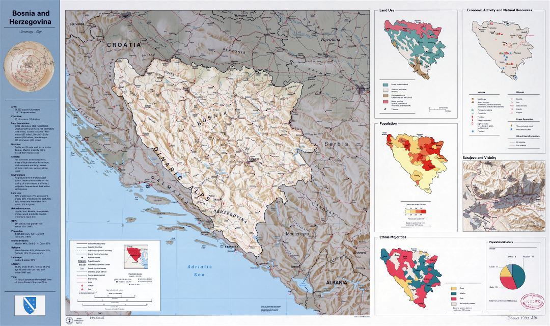 Large scale country profile map of Bosnia and Herzegovina - 1993