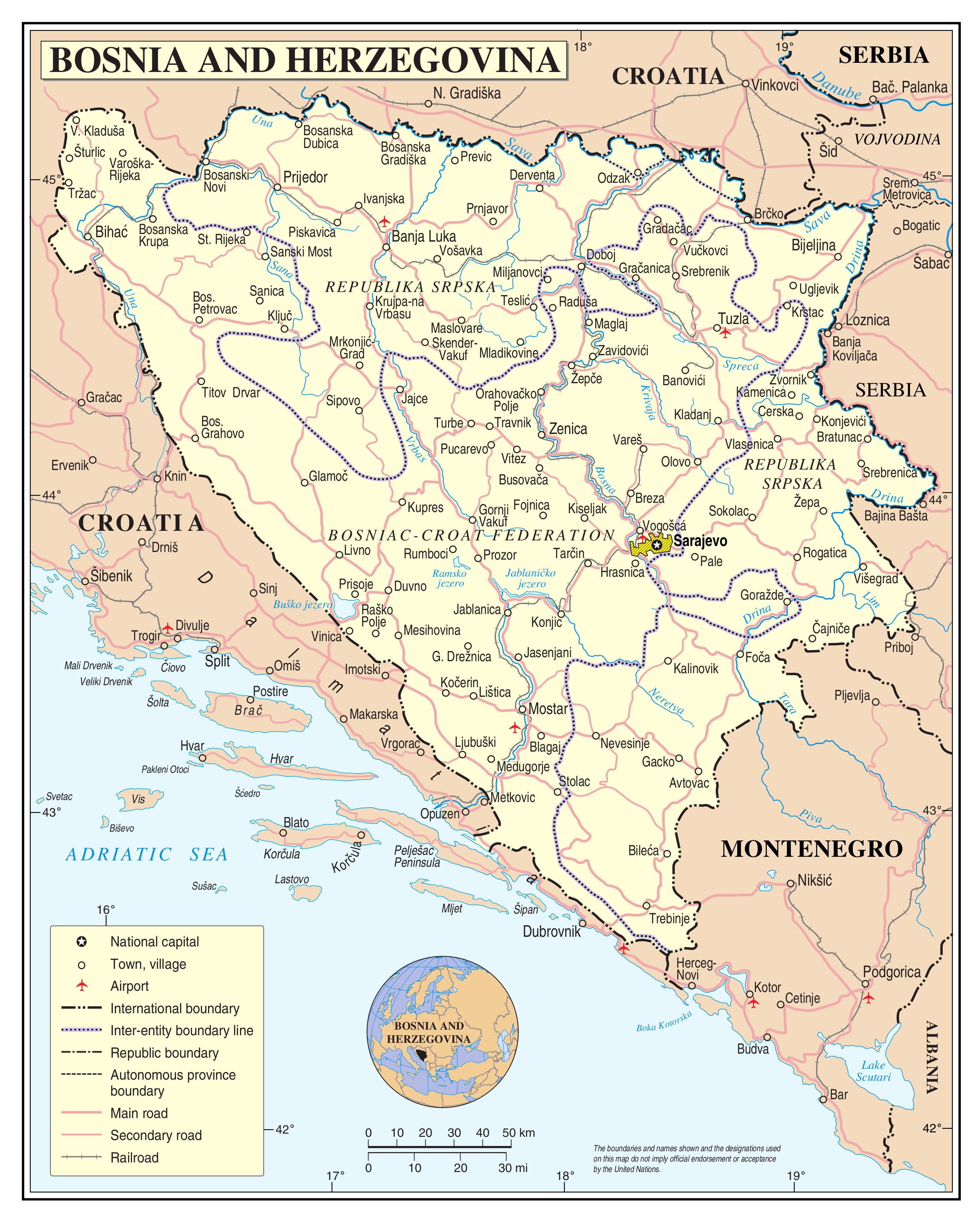 Large scale political and administrative map of Bosnia and ...