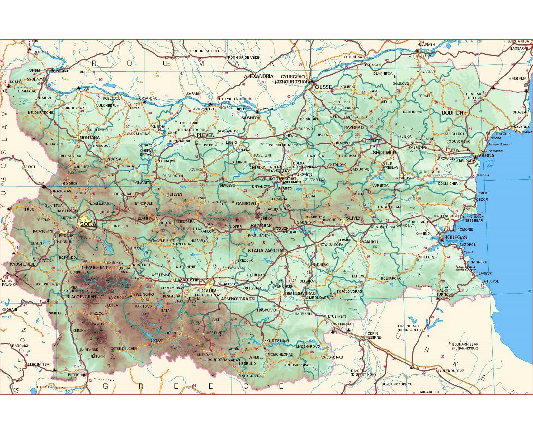 Detailed elevation map of Bulgaria with roads