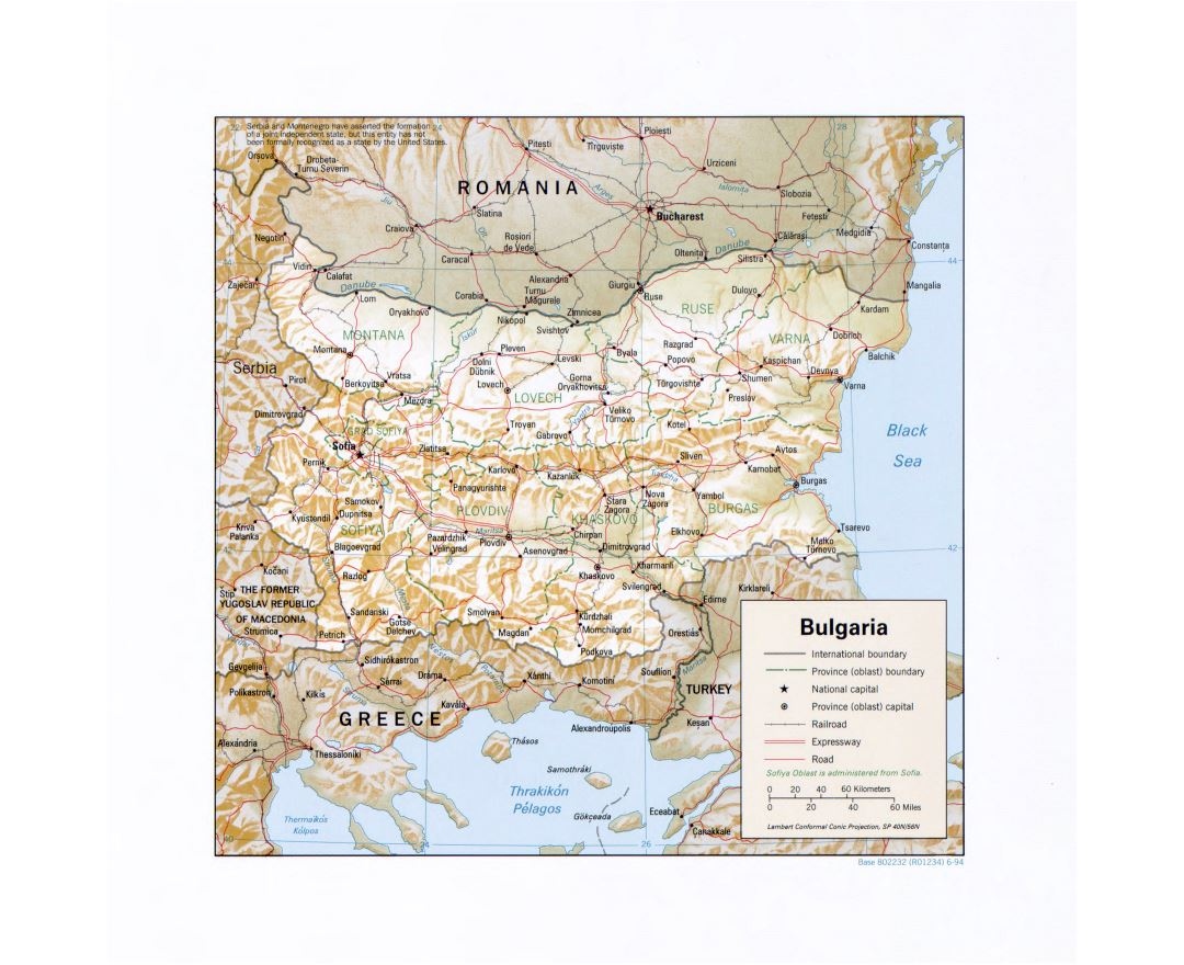 Large detail political and administrative map of Bulgaria with relief, marks of major cities, roads and railroads - 1994