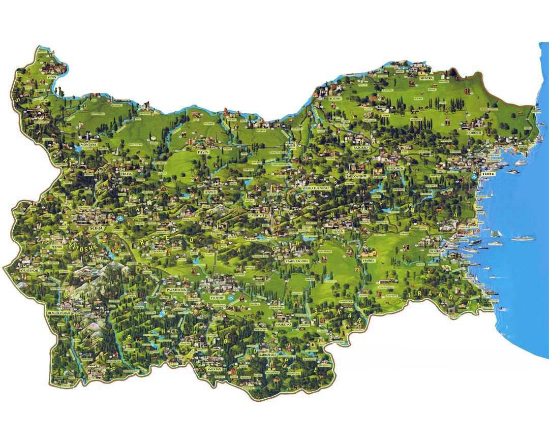 Large detailed tourist map of Bulgaria