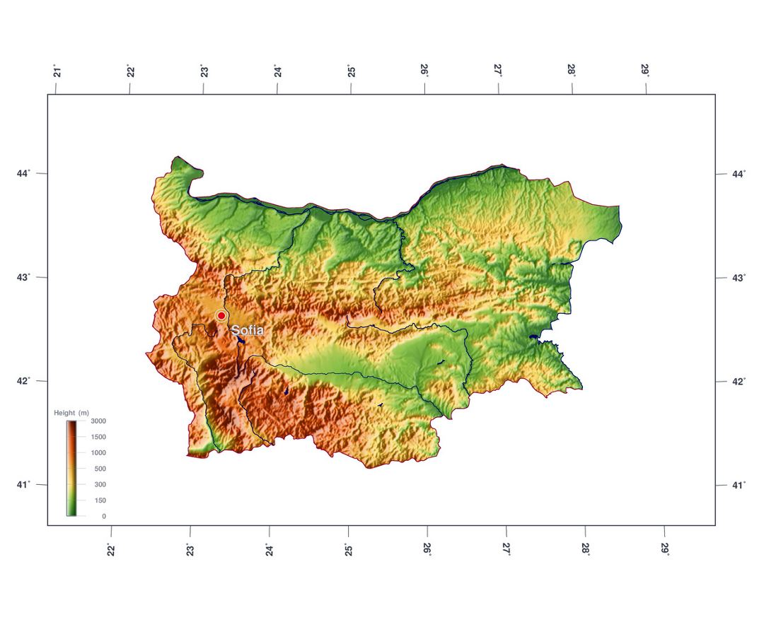Large elevation map of Bulgaria