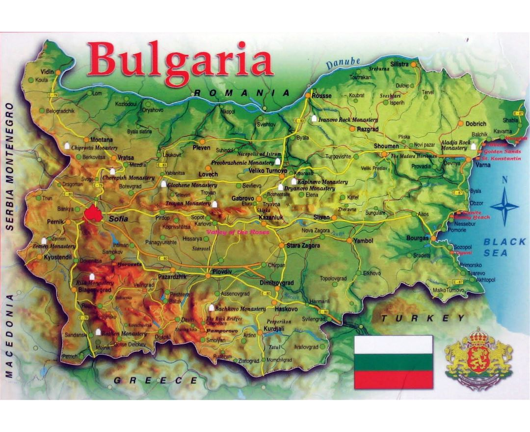 Large map of Bulgaria with relief, roads and cities