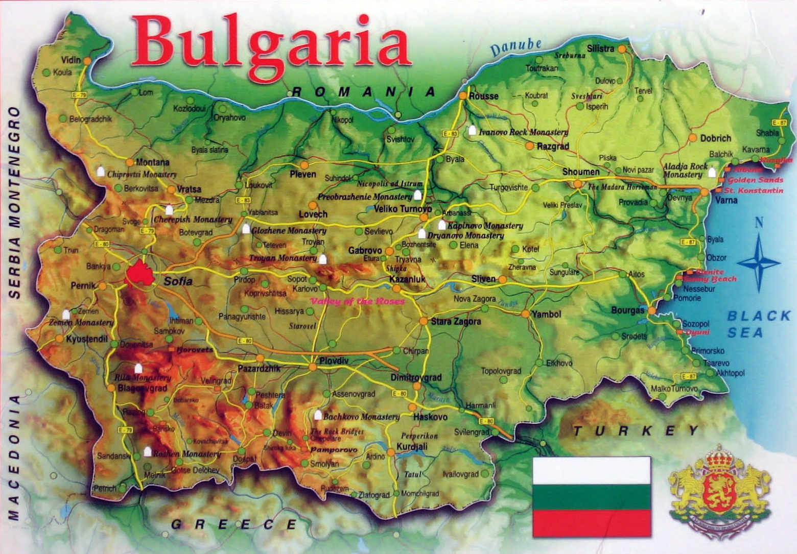 Large map of Bulgaria with relief roads and cities Bulgaria