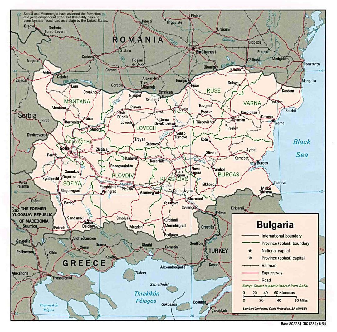 Large political and administrative map of Bulgaria with roads and major cities - 1994